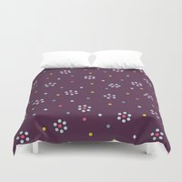 Floral Pattern In Purple And Dots Duvet Cover