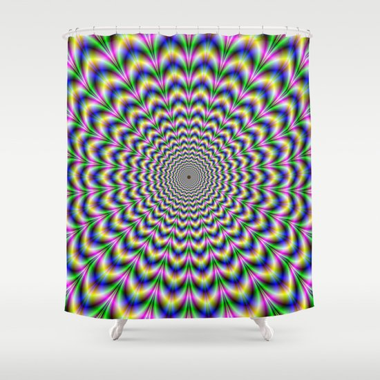 Crinkle Cut Psychedelic Pulse Alternative Color Shower Curtain by ...