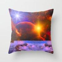 Alien coast Throw Pillow
