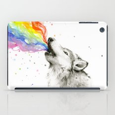Wolf Rainbow Watercolor Howling iPad Case