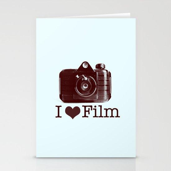 I ♥ Film (Maroon/Aqua) Stationery Card