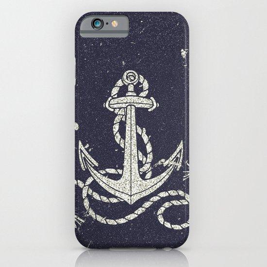 Navy Blue Nautical White Anchor for Sailor Texture iPhone & iPod Case
