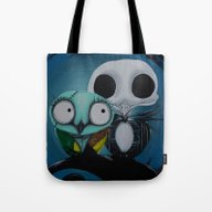 Tote Bag featuring The Owl Jack And Sally by Annelies202