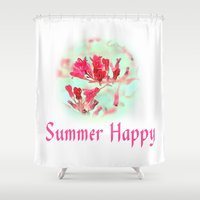 pretty pink summer flowers, summer happy floral photo art. Shower Curtain