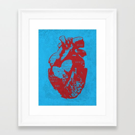 Binary heart Framed Art Print