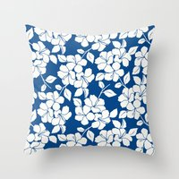 Hibiscus Floral: Marine Blue Throw Pillow