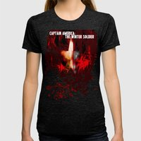 Captain America: The Win… Womens Fitted Tee Tri-Black SMALL