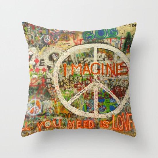 Peace Sign - Love - Graffiti Throw Pillow