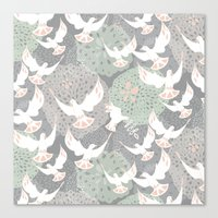 Doves And Flowers Canvas Print
