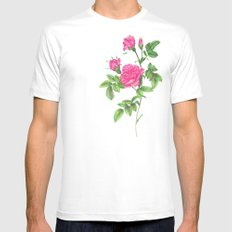 Ballpoint Pen, Redouté's Roses Mens Fitted Tee White SMALL