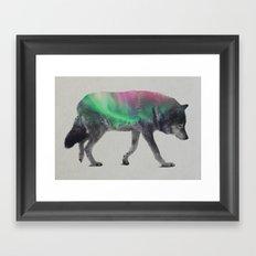 Wolf In The Aurora Borealis Framed Art Print