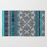 Teal, Aqua & Grey Vintage Bohemian Wallpaper Stripes Rug
