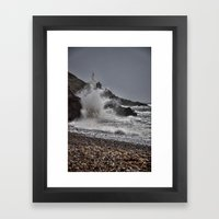 Mumbles Wild Waves. Framed Art Print