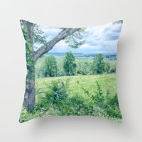 Throw Pillow featuring Never Ending Field by Karol Livote
