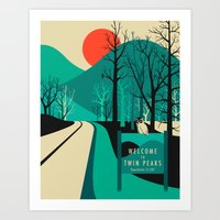 teal Art Prints featuring Twin Peaks by Jazzberry Blue