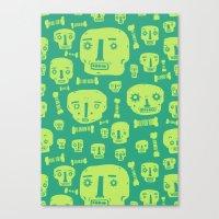 Skulls & Bones I - Green Canvas Print