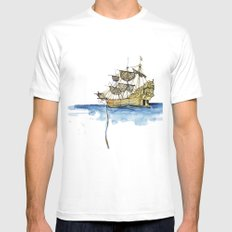 Sailing Ship Mens Fitted Tee SMALL White