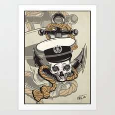 Skull with anchor Art Print