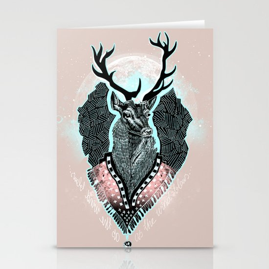 Wind:::Deer Stationery Card