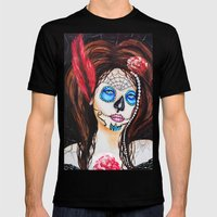 1920's Flapper Sugar skull, Dia de los muertos Mens Fitted Tee Black SMALL