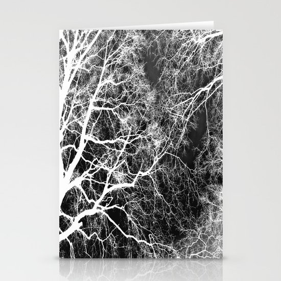 White on Black Trees Stationery Card