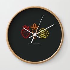 Eat Real Food. (dark) Wall Clock