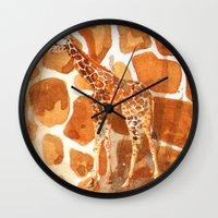 Camouflage giraffe, animal skin, safari art, giraffe, giraffe art, cute animal art, nursery animals Wall Clock