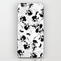 Hydranga pattern  - black and white iPhone & iPod Skin