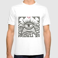 All seeing eye White SMALL Mens Fitted Tee