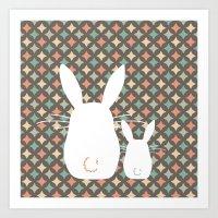 Bunny / Vintage pattern #1 Art Print