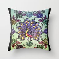 Throw Pillow featuring Peacock Pattern by SwanniePhotoArt
