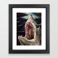 Mako Shark Of Dark Water… Framed Art Print