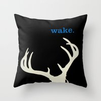 WAKE - SKULL (BLACK) Throw Pillow