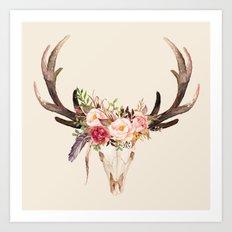 Watercolor Deer Floral Art Print
