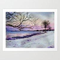 Winter Evening In Racine Art Print