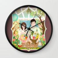 Wedding invitation design for Lisa and Alex Wall Clock
