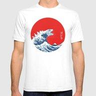 Hokusai Kaiju Mens Fitted Tee White SMALL