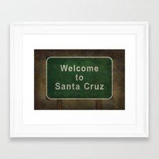 Welcome to Santa Cruz, roadside sign illustration Framed Art Print