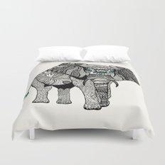 Tribal Elephant Black and White Version Duvet Cover