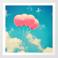 Pink Balloons on Deep Blue  Art Print