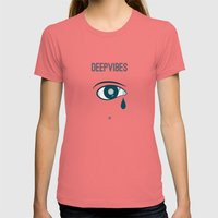 Deep Vibes Womens Fitted Tee Pomegranate SMALL
