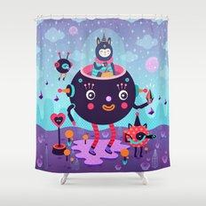 Amigos cósmicos Shower Curtain
