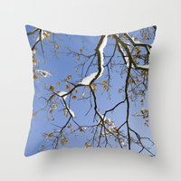 Snowy Branch Throw Pillow