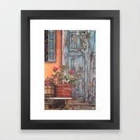 Blue Door with Window Framed Art Print