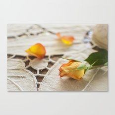Yellow Rose on a Tablecloth Canvas Print