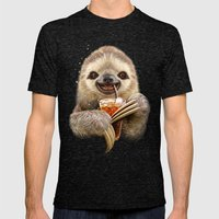 SLOTH & SOFT DRINK Mens Fitted Tee Tri-Black SMALL