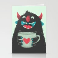 Stationery Cards featuring Demon With A Cup Of Coff… by Lime