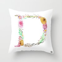 monograms - D Throw Pillow