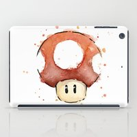 Red Mushroom Watercolor Mario Art iPad Case