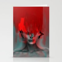 Red Head Woman Stationery Cards
